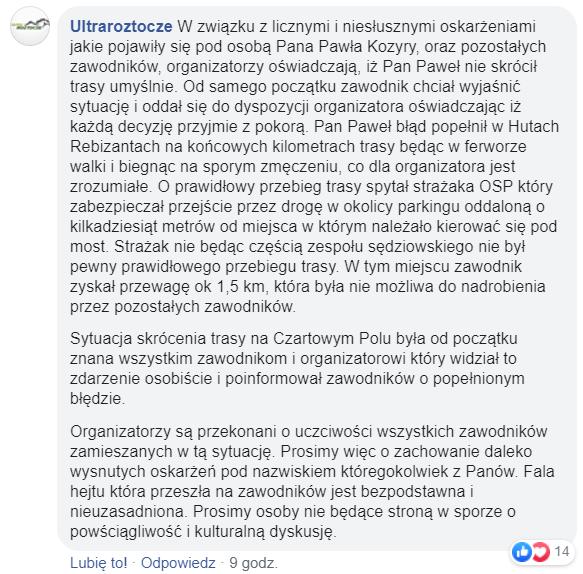 Oświadczenie UltraRoztocze